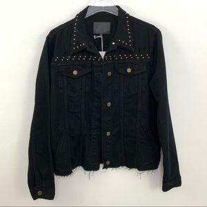 Sanctuary Fierce Fall Black Studded Denim Jacket